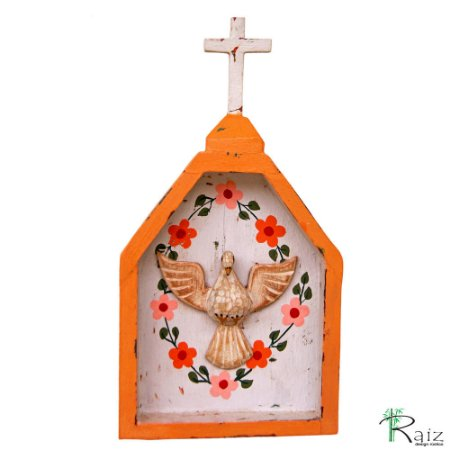 Oratório Divino Espírito Santo Madeira para Mesa ou Parede Pêssego e Lilás (24x13x3)cm