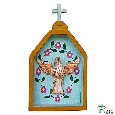Oratório Divino Espírito Santo Madeira para Mesa ou Parede Verde e Azul Claro (26x14x3)cm