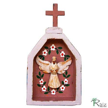 Oratório Divino Espírito Santo Madeira para Mesa ou Parede Violeta e Marrom (18x10x3)cm