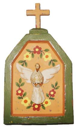 Oratório Divino Espírito Santo Salmão Madeira com Policromia Linha Fina (10x18cm)