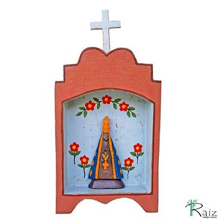 Oratório Nossa Senhora Aparecida Madeira para Mesa\Parede Marrom 24cm