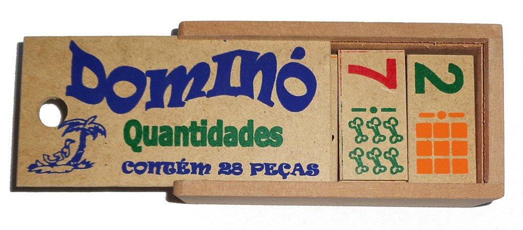 Brinquedo Educativo Dominó Quantidades Madeira