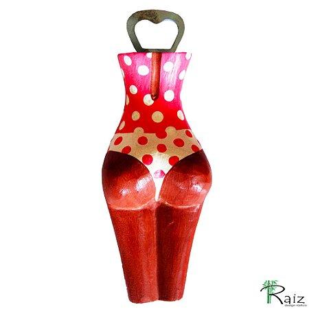 Abridor de Garrafa em Madeira Corpo Feminino Entalhado Vermelho e Branco com Bolinhas