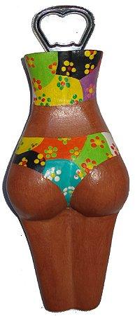 Abridor de Garrafas Madeira Biquini Patchwork - Corpo Feminino Entalhado (7x19cm)