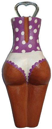 Abridor de Garrafas Madeira Lilás - Corpo Feminino Entalhado (7x19cm)