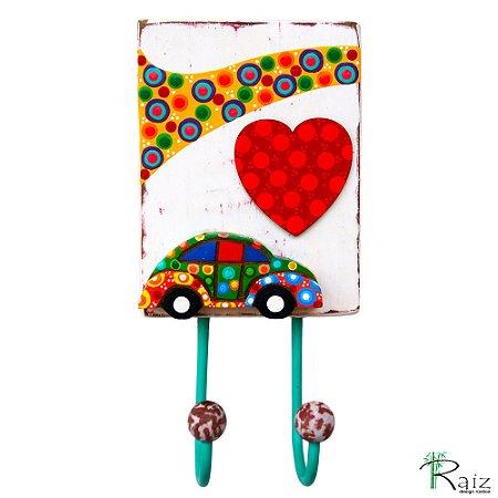 Cabideiro com 2 Ganchos em Madeira Fusca Pintura Colorida - Coleção I love Fusca