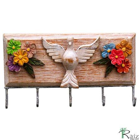 Cabideiro Divino Espírito Santo com Flores Cinco Ganchos