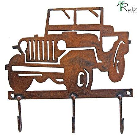 Cabideiro Estilo Jeep Recortado em Metal Três Ganchos