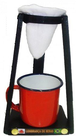 Coador Com Xícara Esmaltada Vermelha (180mL)