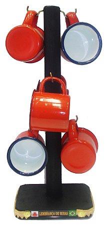 Conjunto Com 6 Xícaras Esmaltada Vermelha M