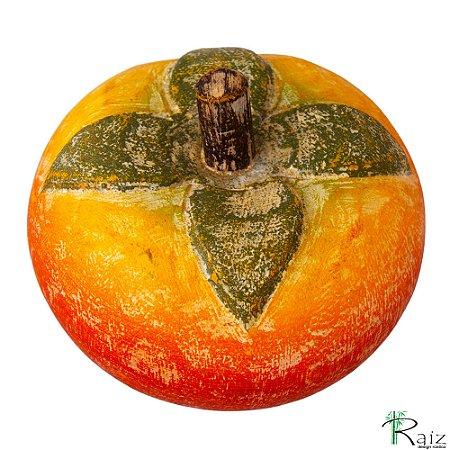 Fruta Decorativa de Mesa Caqui em Madeira Maciça (8,5x9,5x9,5)cm