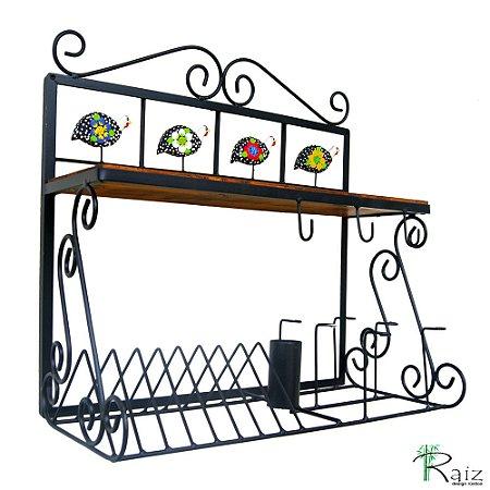 Paneleiro de Madeira e Ferro com Ganchos, Porta Copos, Pratos e Talheres Cozinha 60cm