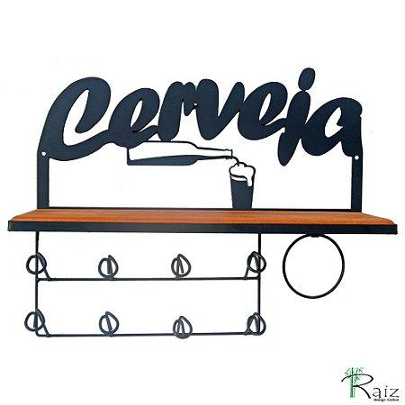 Prateleira com Escorredores de Copos e Cabide para Pano de Prato área de Cozinha/Churrasco