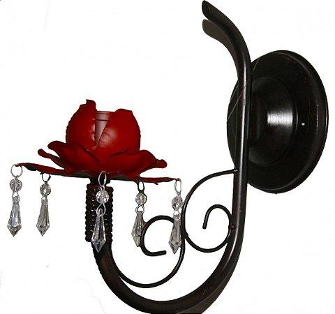 Arandela de Rosa Ferro Para Lâmpada com Pingentes Coleção Mimo (27cm)