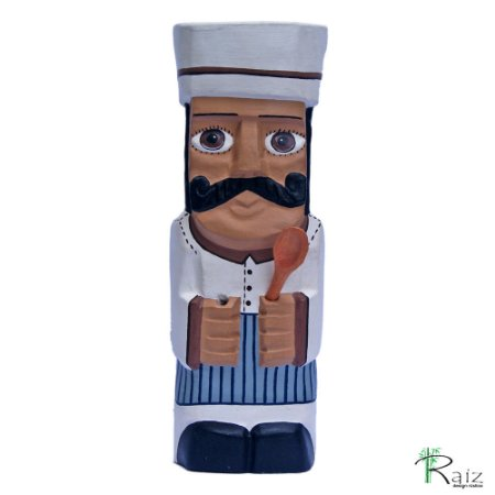 Cozinheiro Chefe Esculpido e Pintado em Madeira