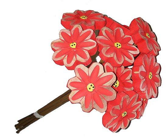Buquê de Flores Dúzia Madeira Entalhada M
