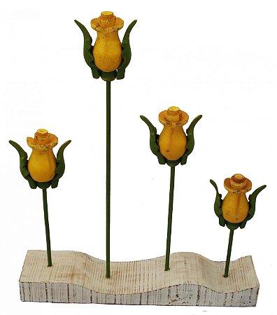 Jardim de Rosas Amarelas de Madeira Coleção Luxo