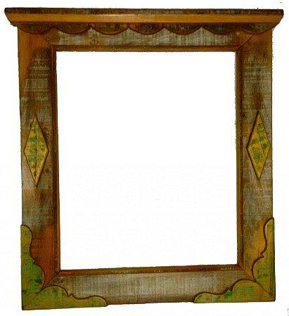 Moldura de Espelho com Aplicação de Madeira (80x74cm)