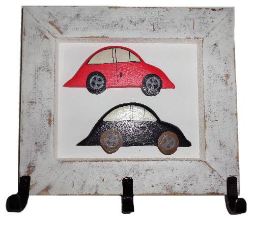 Quadro Cabideiro Fusquinhas Vermelho e Preto (27x25cm)
