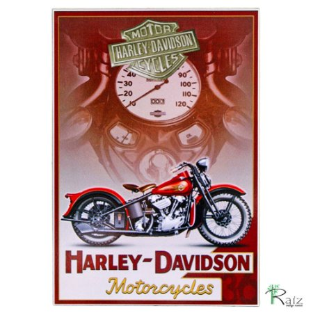 Quadro Harley Davidson Retrô Estilo Placa de MDF Adesivada 20x29 cm