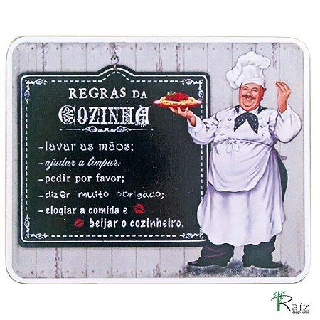 Quadro Regras da Cozinha 3 Estilo Placa de MDF Adesivada 19x23 cm