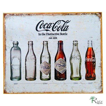 Quadro Retrô Coca Cola Evolução Madeira Estilo Placa 23x19 cm