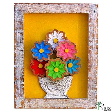 Quadro Vaso de Flores Coloridas Fundo Amarelo Rústico