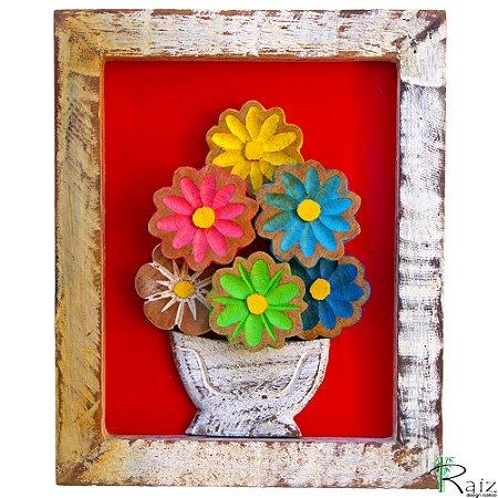 Quadro Vaso de Flores Coloridas Fundo Vermelho Rústico