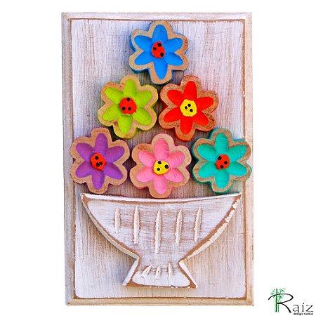 Quadro Vaso De Flores Coloridas Rústico