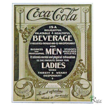 Placa Retrô Coca Cola 4 Linha Vintage (23x19cm)
