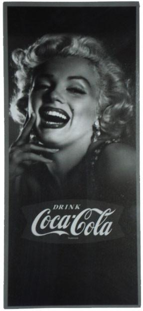 Placa Retrô Coca Cola Merilyn Vertical Linha Vintage (16x35cm)
