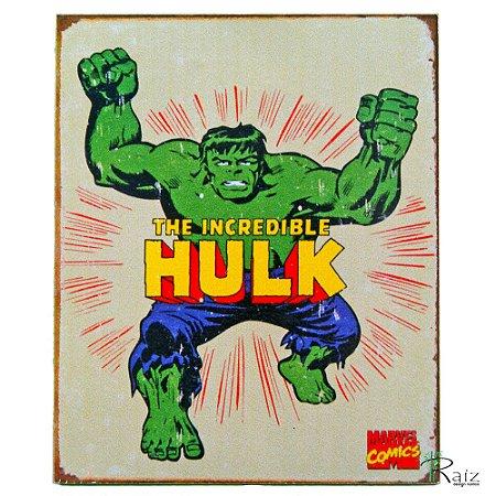 Placa Retro Colecao Desenho Hulk Linha Vintage 23x19cm Raiz Decora