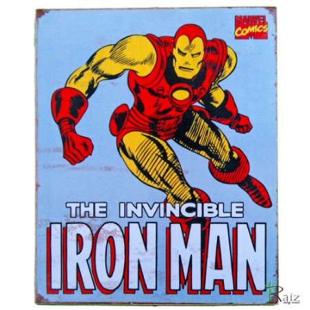 Placa Retrô Coleção Desenho Iron Man Linha Vintage (23x19cm)