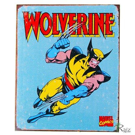 Placa Retrô Coleção Desenho Wolverine Linha Vintage (23x19cm)
