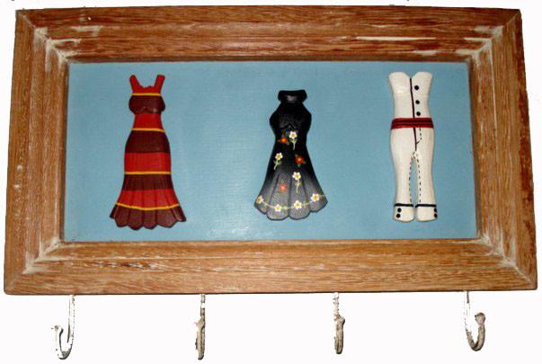 Cabideiro Tipo Quadro Madeira Peças Entalhadas e Pintadas a Mão 4 Ganchos 40 cm
