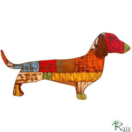 Quadro Artesanal Cachorro Basset em Madeira de Demolição