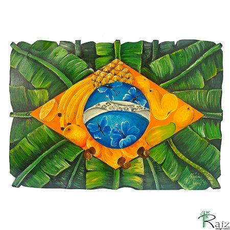 Quadro Artesanal Galvanizado Bandeira do Brasil Pintado (38 x 50)cm