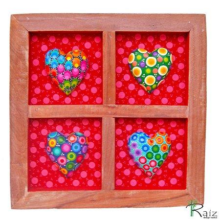 Quadro com Corações Coloridos - Coleção Love - 30cm