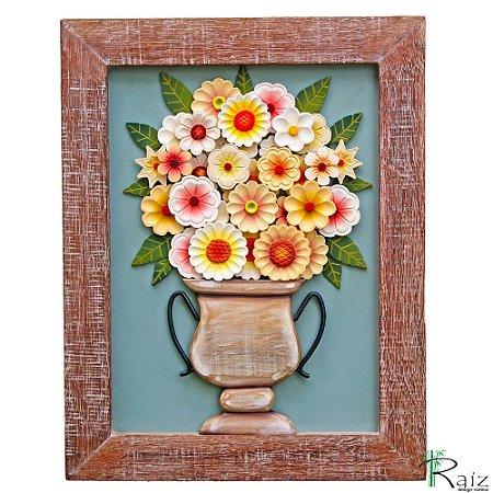 Quadro com Vaso de Flores Amarelas e Brancas