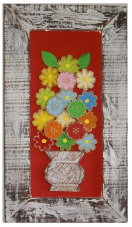 Quadro de Flores Coloridas Fundo Vermelho (34x60cm)