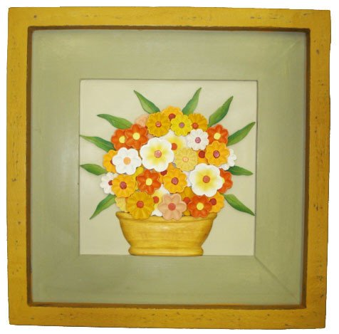 Quadro de Flores Policromia Coleção Primavera Amarelo (45x45cm)