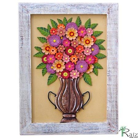 Quadro Decorativo Vaso com Flores Madeira Luxo
