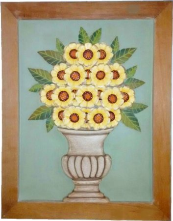 Quadro Girassol Com Moldura Natural Coleção Luxo 70x55 cm