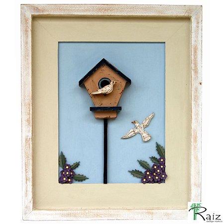 Quadro Rústico Casa De Pássaros com Flores Madeira 60cm