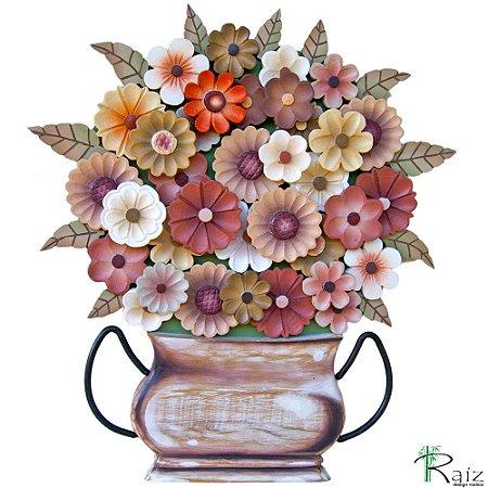 Quadro Tipo Ânfora Vaso De Flores Recortado Madeira Sépia
