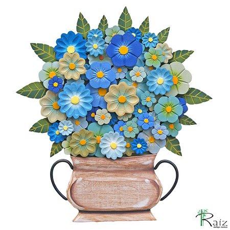Quadro Tipo Ânfora Vaso De Flores Recortado Madeira Azul