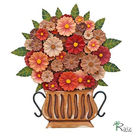 Quadro Tipo Ânfora Vaso De Flores Recortado Madeira Marrom e Vermelho