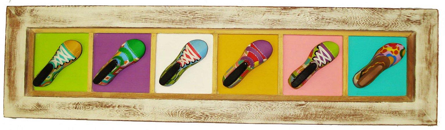 Quadro Tira de Sapatos Madeira Para Quarto, Sala, Corredor...