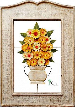 Quadro Vaso de Flores Amarelas Vazado Degradê Coleção Luxo 64cm