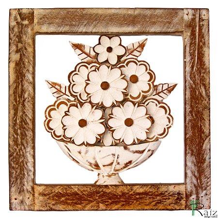 Quadro Vaso de Flores Brancas Patinado Rústico